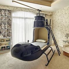 Helicopter bed designed for interior home By Ideas Decorar Habitacion, Kids Bed Design, Cool Beds For Kids, Unique Kids Beds, Kids Bedroom, Bedroom Decor, Bedroom Modern, Gray Bedroom, Bedroom Sets