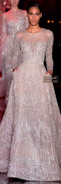 Elie Saab - underneath bodice idea, maybe have a deep plunge sweet heart shape