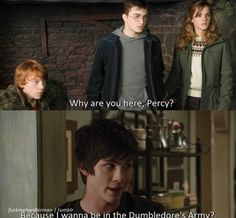 PJO Bahahahaha!!!! How awesome would this be!!!!----> CAN'T HAPPEN HARRY POTTER IS BASED IN THE 1900S