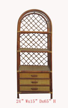 Chinese Antique Bamboo Rattan Face Hand Made Bookcase Display Cabinet WK2771   650-522-9888 goldenlotusinc@yahoo.com #home #furniture #interior #gift #sale