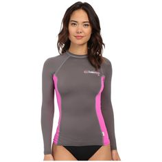 O'Neill Skins L/S Crew (Graphite/Berry/Graphite) Women's Swimwear ($41) ❤ liked on Polyvore featuring swimwear, o neill boardshorts, slimming swimwear, upf swimwear, rash guard swimwear and boardshorts