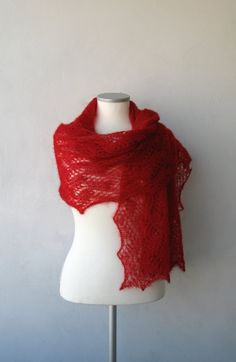 SALE Red luxurious hand knitted kidsilk lace shawl by LaceForYou, $99.00