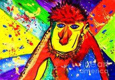 Monkey Pop Art by Julia Fine Art And Photography Monkey Art, Free Canvas, Animal Paintings, Artist At Work, Nursery Art, Printable Art, Pop Art, Original Art, Fine Art
