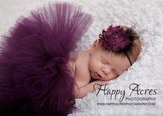 PLUM PRINCESS....newborn tutu, baby tutu with vintage headband, newborn photography prop.....plum tutu, purple tutu on Etsy, $34.95