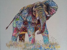 (elephant) This says: My Owl Barn: Sophie Standing: Textile Embroidery Art Elephant Quilt, Elephant Love, Elephant Art, Textile Fiber Art, Textile Artists, Thread Painting, Painting Tips, Watercolor Painting, Animal Quilts