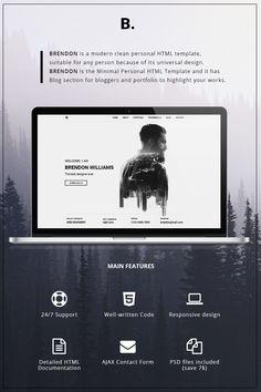 Website Template , Brendon - Minimal Personal Portfolio