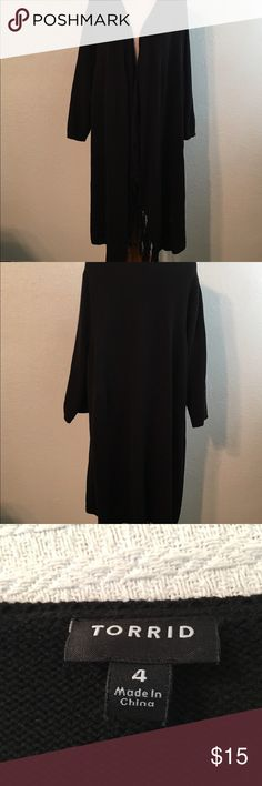 """Torrid Open Front Sweater Duster 4 (4X-26) Item: Torrid Open Front Sweater Duster Condition: Pre-owned Size: 4 (4X-26) Material: 60% Cotton, 40% Acrylic  Measurements: All measurements are approximate and are taken from across the front of the item while laying flat. Underarm to Underarm (Bust): 23"""" Waist: 25"""" Hip: 25"""" Length: 39"""" Sleeve: 19"""" Care Instructions:  Turn garment inside out. Hand wash cold. Do not bleach. Reshape and lay flat to dry. Cool iron if needed. Good to Know:  Excellent…"""