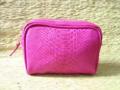 Python Leather Cosmetic Bag / Pouch Leather Make Up by mrhanz