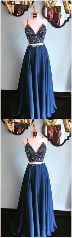 Sparkly Two Piece Prom Dress,Sequins Navy Blue Prom