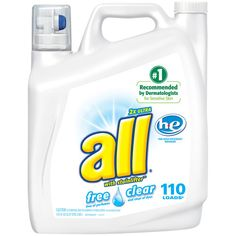 All 2X Ultra Free Clear High Efficiency Liquid Laundry Detergent With Stainlifter, 172 fl oz