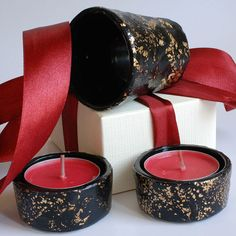 One of a kind Handmade glass Candle holder or salt by EttyonEtsy, $22.00