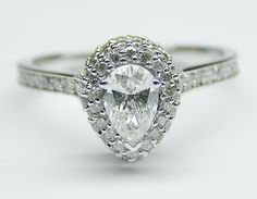 Pear Diamond Double Halo Engagement Ring 0.47 tcw. In 14K White Gold