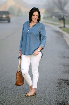 Loving this crisp and chic look for spring! Chambray shirt, white distressed ankle skinnies, and leopard ballet flats!