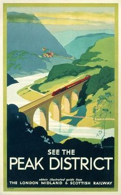 English Travel Poster produced by London, Midland & Scottish Railway (LMS) to promote rail travel to the Peak District. The poster shows a bird's-eye view of a train crossing a bridge over a river, with a landscape of green peaks stretching out in the distance. Artwork by S R Wyatt.    This Poster dates from 1923-1947. #vintagetravelposters