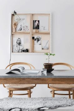 "Why hang art image-side forward, when you can display the reverse side, with exposed stretchers, blank canvas and all? Because it looks totally deconstructed and ""undecorated"" and also provides a narrow shelf of sorts to display photographs and other objects."