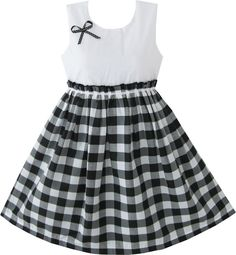 Girls Dress Black and White Tartan Kids Sundress Size 4 5 6 7 8 9 10 NWT #SunnyFashion #Everyday