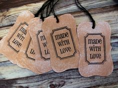 HANDMADE Tags Set of 5 Made With Love by PaperPastiche on Etsy, $2.95