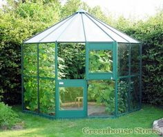 Eden Pleiades hexagonal greenhouse in green with toughened safety glass. Buy now from Greenhouse Stores with free UK delivery.