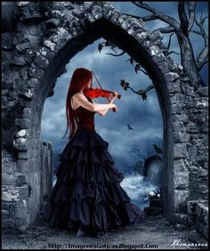 I love gothic art and music. I feel like a violin can bring out feelings. You can really feel the pain the emotion when somebody is playing the violin. Gothic Pictures, Gothic Images, Dark Fantasy Art, Dark Beauty, Gothic Beauty, Beautiful Dark Art, Fantasy Photography, Goth Art, Dark Gothic