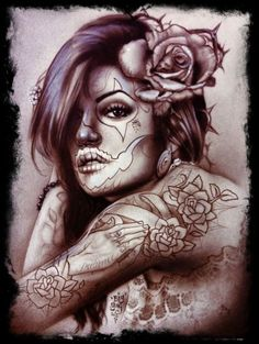 Chicano style Latina style to it all! A work of ART Chicanas Tattoo, Tattoo Expo, Tatoo Art, Tattoo Flash, Day Of The Dead Girl, Day Of The Dead Skull, Audrey Kawasaki, Sugar Skull Girl, Sugar Skulls