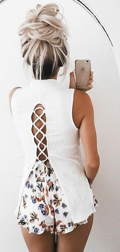 #summer #girly #outfitideas | White Lace Up Top + Floral Shorts