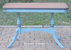 Dark Wax The Painted Drawer: French Blue Furniture Fix, Furniture Makeover, Furniture Ideas, Gothic Furniture, Painted Furniture For Sale, Annie Sloan Old White, Small Tables, Side Tables, Painted Drawers