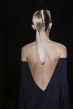 04-30-15; i wonder if this would stay up if she starts jumping and her arms are not pressed against her body. This reminds me of how we need to keep practicality in mind and that real people should be able to wear them. Haider Ackermann Spring 2014