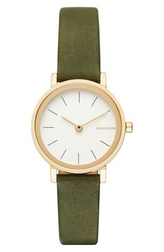 Free shipping and returns on Skagen 'Hald' Leather Strap Watch, 26mm at Nordstrom.com. A simple dial styled with narrow hands and printed stick indexes accentuates the understated design of a polished stainless steel round watch balanced on a supple leather strap.