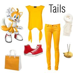 Miles Tails Prower... Would wear this but with knee length pants and a messenger bag intead of the purse. That shirt is genius!