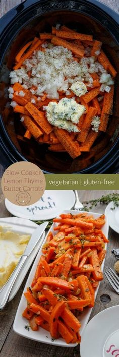 Free up your oven and stove this holiday season with these slow cooker lemon thyme butter carrots! Vegetarian and gluten-free! Vegetable Dishes, Vegetable Recipes, Vegetarian Recipes, Vegan Meals, Vegan Desserts, Slow Cooker Recipes, Crockpot Recipes, Cooking Recipes, Thanksgiving Recipes