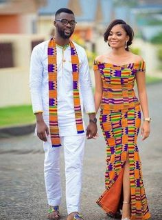 African print kente wear, african fashion, ankara, kitenge, african women d Couples African Outfits, African Clothing For Men, African Dresses For Women, Couple Outfits, African Print Fashion, Africa Fashion, African Attire, African Wear, African Fashion Dresses
