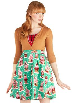 Gingerbread Home Sweet Home Skirt - Green, Red, Pink, White, Holiday, A-line, Better, Novelty Print, Winter, Mid-length, Cotton, Woven, Holi...