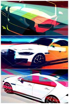 """The Jaguar Bonnet Artwork Collection"" by Cesar Pieri Jaguar Advanced Design Manager Car Design Sketch, Car Sketch, Car Illustration, Car Posters, Motorcycle Design, Cool Sketches, Car Painting, Transportation Design, Automotive Design"