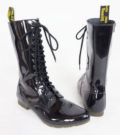 DR. MARTENS Ritzy Stacey 14 Eye Boots Size USA 8 UK 7 Black Patent Leather Shoe #DrMartens #MidCalfBoots #Casual