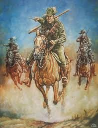 This painting depicts the Turkish view of the Australian Light Horsemen charging at Beersheba with bayonets drawn. The Light Horse . Anzac Soldiers, Ww1 Soldiers, Military Art, Military History, Military Uniforms, Military Tattoos, Army Tattoos, Warrior Tattoos, 3d Tattoos