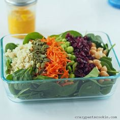 Spinach Power Salad with Carrot Ginger Dressing