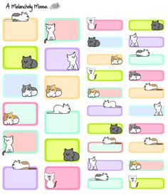 Items similar to Colorful Kitten Quarter and Half Boxes~ Hand-Drawn Planner Stickers For Erin Condren Planners, Happy Planners & Many Others! on Etsy Printable Stickers, Cute Stickers, Printable Planner, Planner Stickers, Printables, Sticker Organization, Organization Bullet Journal, Planner Organization, Note Doodles