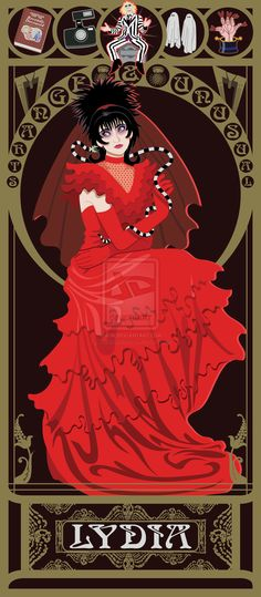 Lydia Nouveau by ~kishokahime. Art Nouveau Versions Of Heroines From 80′s Genre Movies