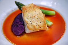 Chef Josh Warner's special dish - Sea Bass, Asparagus and Blue Potatoes. What gorgeous colors, too!
