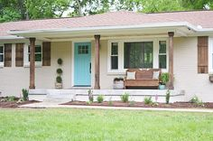 New brick ranch remodel exterior porches ideas Exterior Paint Colors, Exterior House Colors, Paint Colors For Home, Exterior Design, Beige House Exterior, Ranch Exterior, Exterior Remodel, Exterior Homes, Diy Exterior