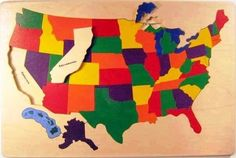IN Stock, Ready to Ship - Classic wooden USA map puzzle with states and capitals. An educational toy that makes a great gift for children. Wooden Map, Wooden Puzzles, Wooden Toys, Educational Toys For Kids, Kids Toys, Map Puzzle, States And Capitals, Puzzles For Toddlers, Picture Puzzles
