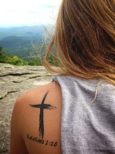 """""""For I have been crucified with Christ and I no longer live, but Christ lives in me. The life I live in the body I live by faith in the Son ... first tattoo, brush strokes, watercolor tattoos, christian tattoos, bible verses tattoo, bible verse tattoo, tattoos cross, a tattoo, cross tattoos"""