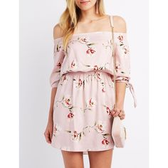 Charlotte Russe Floral Off-The-Shoulder Dress ($27) ❤ liked on Polyvore featuring dresses, blush combo, 3 4 sleeve a line dress, pink flower dress, 3/4 sleeve dresses, pink a line dress and charlotte russe dresses