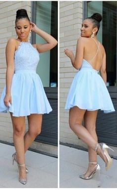 Light Blue Homecoming Dresses,Chiffon Homecoming Dresses,Short Homecoming Dress,Backless