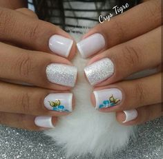 Simple Nail Art Trends 2018 - style you 7 Acrylic Nail Designs Glitter, Ombre Nail Designs, Nail Art Designs, Love Nails, Pretty Nails, My Nails, Acryl Nails, Classy Nail Designs, Perfect Nails