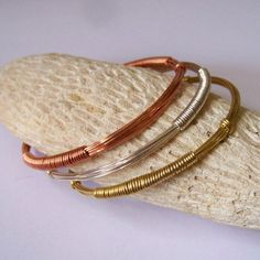 Stackable Bangles  DECO Mixed Metal Bangles  Wire by StoneDelite,