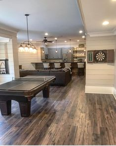 A little bit of a different view of what we would like the kitchen colors and flooring to be.. Cozy Basement, Man Cave Basement, Best Basement Flooring, Teen Basement, In The Basement, Basement Bars, Game Room Basement, Man Cave Flooring Ideas, Kitchen In Basement