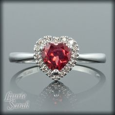 Garnet and Diamond Dainty Engagement Ring  by LaurieSarahDesigns, $877.50