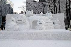 Esculturas de neve no Festival de Neve de Sapporo, província de Hokkaido, Japão.