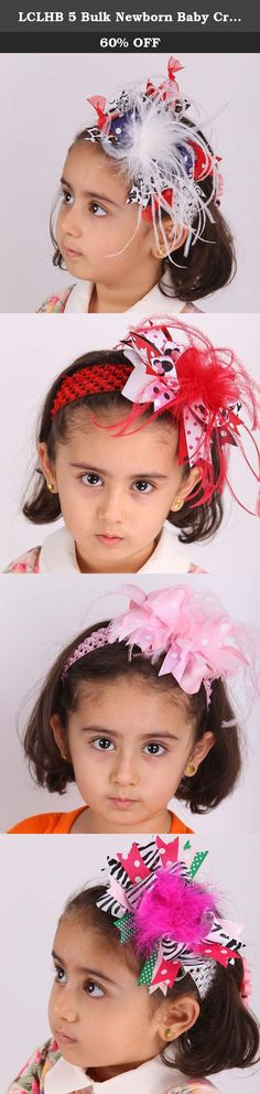 """LCLHB 5 Bulk Newborn Baby Crochet Headbands And Large 6 Inch Feather Ribbon Bows. Set of 5 colors girls crochet headbands with feather bows clips Personalized Products These attractive ribbon bows mounted on 1.78"""" alligator clips and clip on the headband. Sturdy Alligator clips are no teeth which don't hurt your hair or hair band and is easier to slide in hair without being caught and stuck. Our fashion hair bands with boutique bows are well-made from quality and environmental ribbon..."""